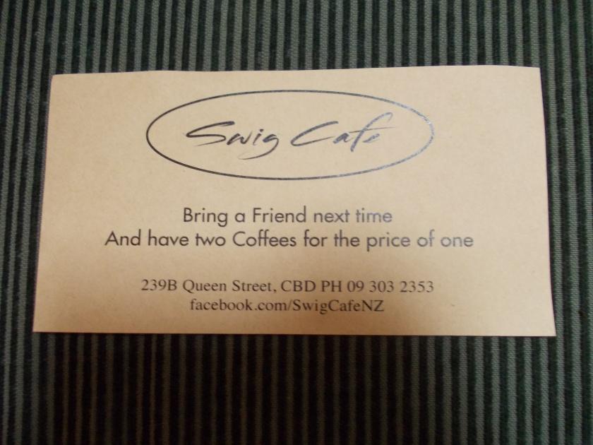 Swig Cafe Auckland NZ Coffee Voucher