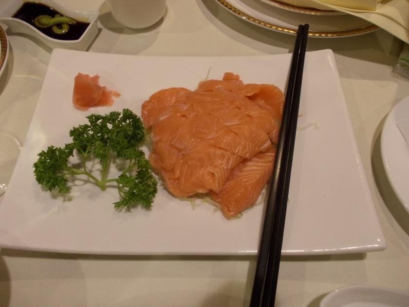 Salmon Sashimi at Jade Dragon Restaurant Sky City Auckland